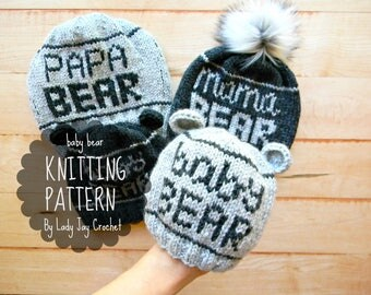 PATTERN: Baby Bear Beanie | Hat with bear ears | Infant winter toque | diy hat with ears | Toddler knit beanie | fair isle hat with words