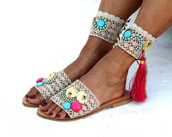 "Sandals ""Avalon Gold"" (handmade to order)"