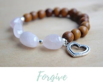 Rose Quartz Bracelet / mother in law gifts, spiritual mom gift, mom from son, yoga jewelry women, mom from daughter, meaningful bracelet