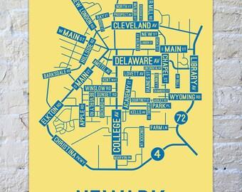 Newark, Delaware Street Map Screen Print