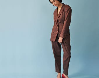Minimal Linen Suit, Vintage Linen Suit, Linen Two Piece Set, 90s Minimal Set, Womens Pant Suit, Linen Co-Ord Set, Blazer High Waist Trousers
