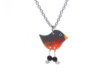 Hand-painted Robin Necklace, Dangle Necklace, Enameled Stainless Steel, Robin Jewelry, Beaded Necklace, Quirky Necklace, Fun Jewelry