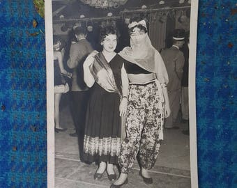 Vintage Black And White Halloween Party Photograph Of German Women Friends In Belly Dancer Costumes
