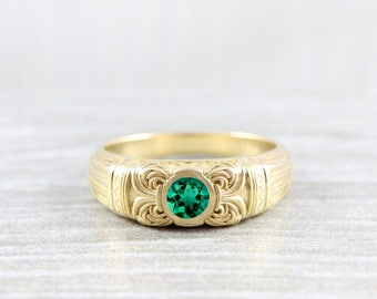 Men's emerald solitaire band signet ring in gold or platinum handmade