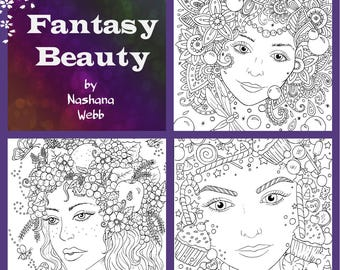 Adult coloring,fantasy beauty,fantasy faces,pdf ,3 page download by Nashana Webb