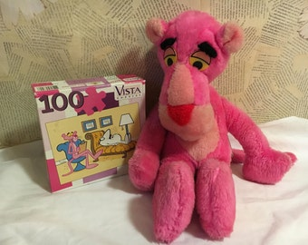 Pink Panther Plush 1964 and Sealed Puzzle