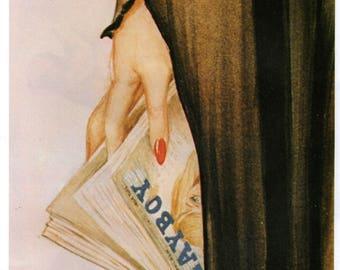 Playboy Magazine Original Vintage Alberto Vargas Print  Book Plate
