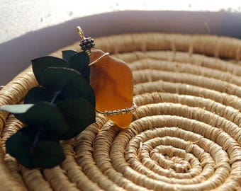 Cute Brown and Gold, Sea Glass Pendant, Wire Wrapped, Beaded, Necklace