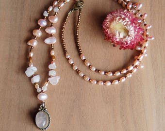 Pretty Pearl Necklace, Fresh Water Pearl Beaded Necklace
