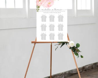 Personazlied Wedding Seating Chart, Floral Seating Chart, Seating Chart Template, Wedding Seating Chart, Personalized Seating Chart