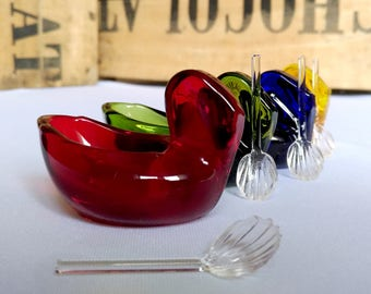 Rare - Four glasses fantastic-pair-Daum-France-Crystal-open-salt-cellars/dip-with colored glass and their spoons