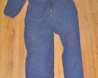 Chore Overalls French Blue Heavy Cotton Long Sleeve Work Wear, Unisex Vintage