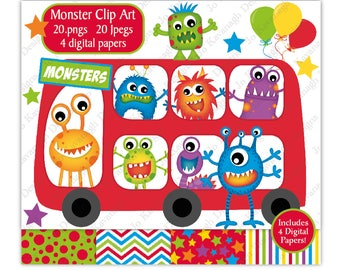 Monster Clip Art,Monster Digital Papers,Monster Clipart,Alien Clipart,Monster Party,Monsters,Fun Digital Papers,Scrapbooking,Commercial