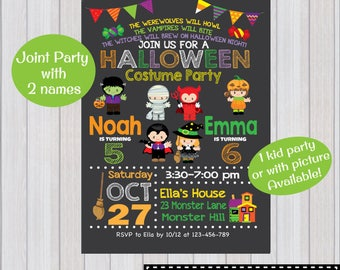 HALLOWEEN PARTY Invitation, Halloween Birthday Party invitation, Costume Party Invitation, Joint party, Siblings, Twins, Two kids