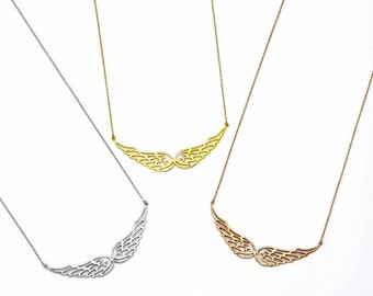 Gold vermeil angel wings necklace, 925 sterling silver