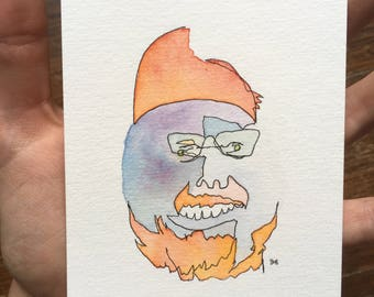 Abstract Portrait / Blind Contour Drawing / Orange Hat Man