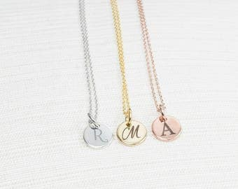 Engraved Initial Necklace, Disc Necklace, Rose Gold initial Necklace, Silver initial Necklace, Gold Initial Necklace