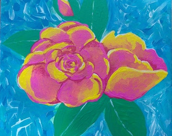 """Summer Roses Original Acrylic on 8"""" x 8"""" Canvas, Affordable Art, One of a Kind, Unique"""
