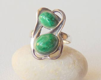 Sterling Silver Malachite Ring, Vintage Green Stone Sterling Ring, Statement Malachite, Modernist Ring, Size 6 1/2 Abstract Ring, Size 6.5