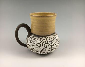 Stoneware Mug, Sgraffito Mug, Yellow Mug, Pottery Mug, Coffee Mug, Tea Cup, Christmas Gift, Holiday Gift, Raw Clay