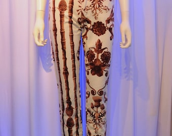 MOSCHINO Tropical Toile Printed Cream and Brown Tapered High Waisted Jeans
