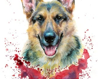 Pet Portrait Custom pet portrait Illustrated Personalised handmade dog portrait, cat portrait from photo