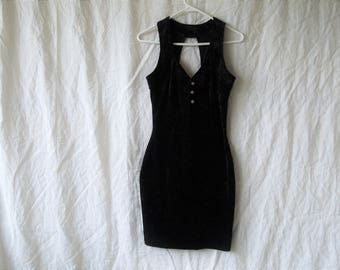 90s Black Crushed Velvet Bodycon Mini Dress