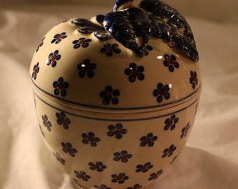 Vintage Ceramic Apple Baker Hand Made Pottery from Poland - Polish Pottery Dish