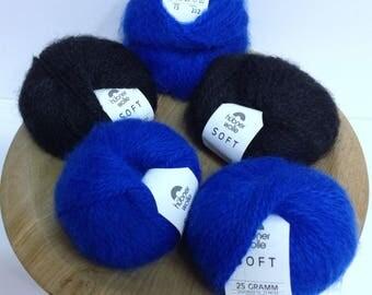 Hubner Wolle Yarn Bright Royal Blue Jet Black Ultra Soft Luxury Yarn for Knitting, Crocheting or Exotic Fiber Art Project Doll Yarn Destash