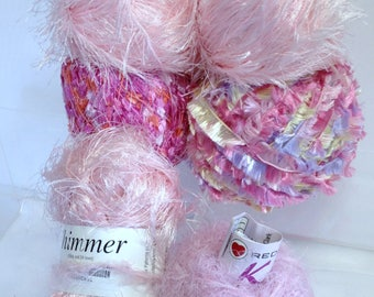 Pink Novelty Yarn Bundle Ultra Soft Red Heart Yarn, Shimmering Orange & Pink Yarn Fiber Art Yarn for Knitting Yarn for Crocheting
