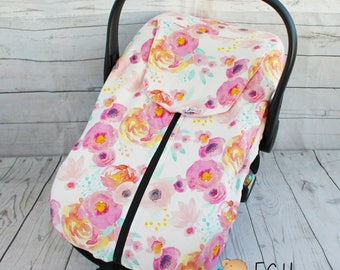 READY TO SHIP Car Seat Cover, Infant Car Seat Cover, Fitted Car Seat cover, Floral car seat cover, Watercolor Floral, baby girl, pink