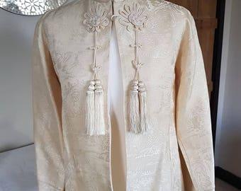 Vintage Chinese Brocade Jacket with tassles