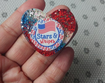 Glitter Resin Heart Brooch 4th of July