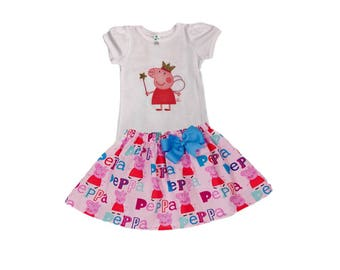 Girl birthday outfit Peppa Pig girl outfit  toddler Girl Peppa Pig dress Girl birthday toddler dress girl clothes baby Toddle birthday dress
