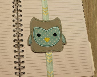 Book Band, Planner Band, Bookmark, Owl, embroidered, handmade, Book mark, Gift, Birthday, Book lover