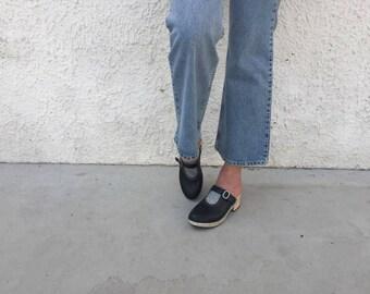 Black Clogs, black glitter clogs, black wooden clogs, 70s black leather clogs, slip on clog, clogs for women EU 37.5 USA 6.5 UK 4.5