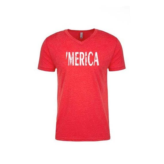 MERICA Mens Shirt, Mens VNeck shirt, Fourth of July Shirt, 4th of July Shirt for Men, Funny Tshirts, Funny Tees, Funny Shirts, America Shirt