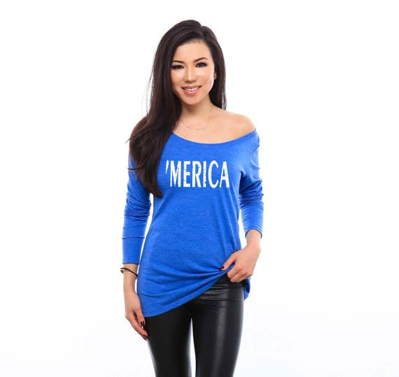 MERICA Off the Shoulder Shirt for Women - America Shirt - Merica Shirt - USA Shirt - Funny Shirts - Funny Tshirts -  Country Music Shirt