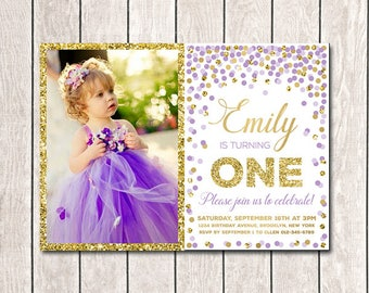 First Birthday Invitation Girl Birthday Invitation Pink Gold - 1st birthday invitations girl purple