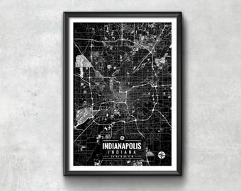 INDIANAPOLIS Indiana Map with Coordinates, Indianapolis Map, Map Art, Map Print, Indianapolis Print, Indianapolis Art, Indianapolis Wall Art