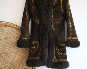 Vintage dark brown Sheepskin Real Suede afghan Fur collar cuffs 60s 70s penny lane coat jacket S