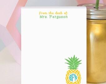 Monogram Pineapple Notepad - Pineapple Personalized Notepad - Be a Pineapple - Pineapple Lover - Pineapple - Pineapple Gift - Monogram