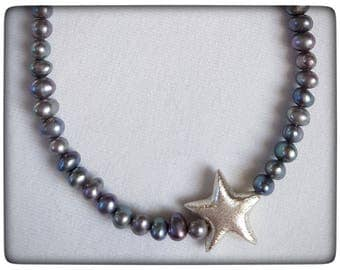 Grey beads with Silver Star
