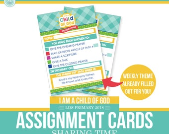 2018 LDS Primary Assignment Cards with Weekly Theme Included- I am a child of God - Sun Theme - MB