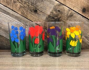 Floral Highball Glasses, Set of 4