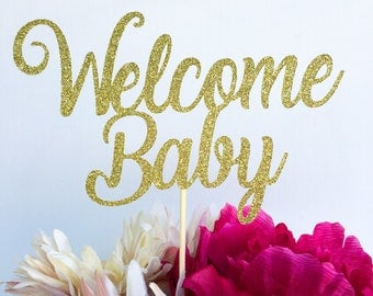 Welcome baby cake topper | Baby shower cake topper | Cake topper | Gold cake topper | Gender reveal cake topper | Glitter cake topper