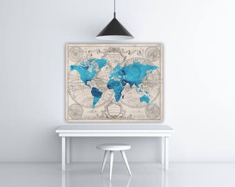 Turquoise Vintage World Map Print, Retro Travel Poster Print, Blue World Map Printable Wall Decor, World Wall Art, Turquoise Decor, Map Art