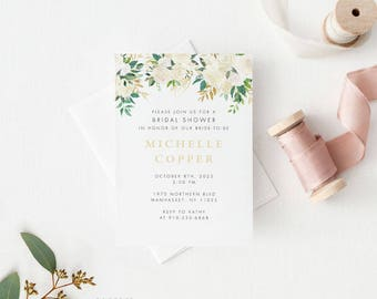 Printable Bridal Shower Invitation - Modern Greenery Bridal Shower Invite - Ready to Print PDF - Letter or A4 Size (Item code: P1050-P1052)