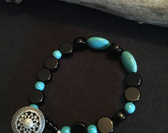 Black Chech glass and turquoise bracelet