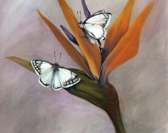 Bird of Paradise with Butterflies oil painting
